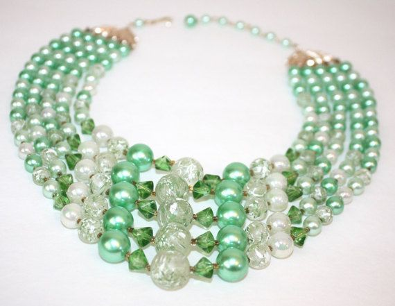 Hey, I found this really awesome Etsy listing at https://www.etsy.com/listing/254088507/green-multi-strand-necklace-vintage