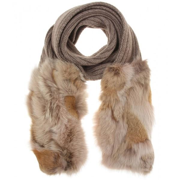 Miu Miu Fur Trimmed Scarf (€805) found on Polyvore