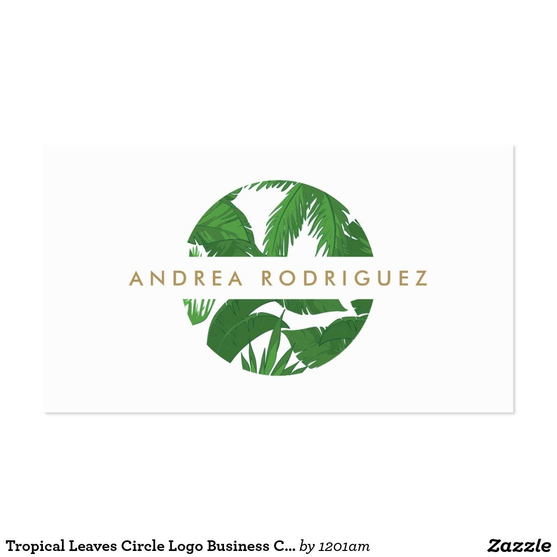 Tropical leaves circle logo business card carvo massagem e tropical leaves circle logo business card reheart Choice Image
