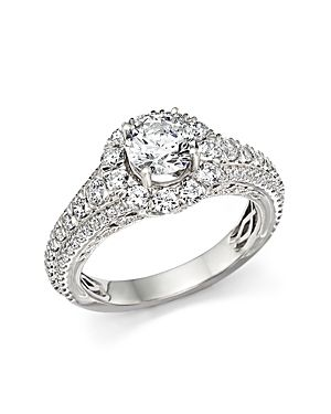 BLOOMINGDALES CERTIFIED DIAMOND HALO RING IN 14K WHITE GOLD 220
