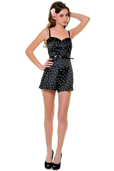 2e61770290a86 1940s Style Black with Pink Bows Polly Playsuit - Unique Vintage - Prom  dresses