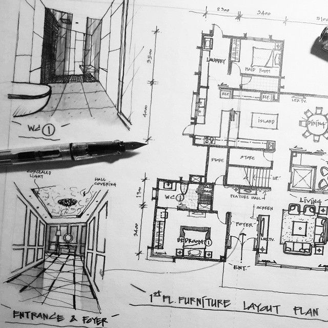 1st Fl Freehand Sketch Drawing Floorplan Perspective Foyer Private Luxury House Penang Malaysia Interior Design Student Floor Plans Instagram Photo
