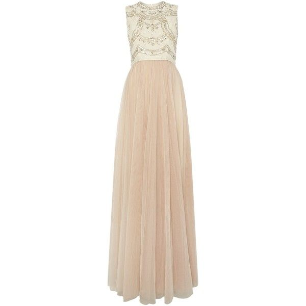 Needle and Thread Embellished lace bodice maxi dress (405 CAD) ❤ liked on Polyvore featuring dresses, gowns, cream, women, beaded gown, cream maxi dress, evening maxi dresses, sleeveless maxi dress and beige lace dress