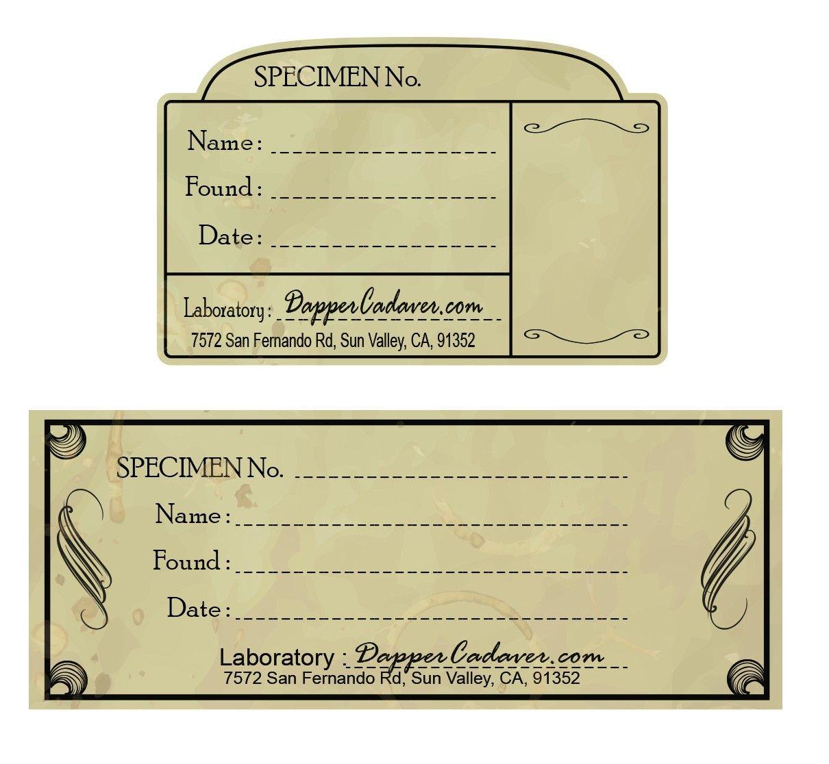 Specimen Labels Halloween Labels Vintage Labels Halloween Printables