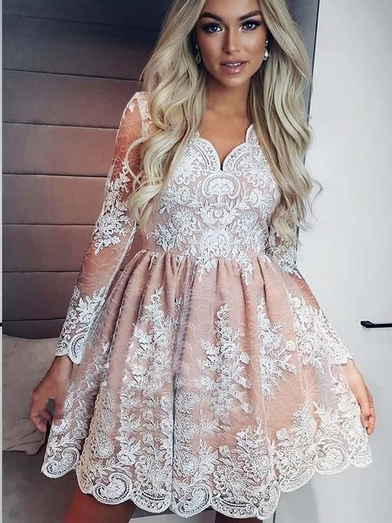 3a54ad4a5ab Long Sleeve Homecoming Dresses Lace A-line Short Prom Dress Party Dress  JK607