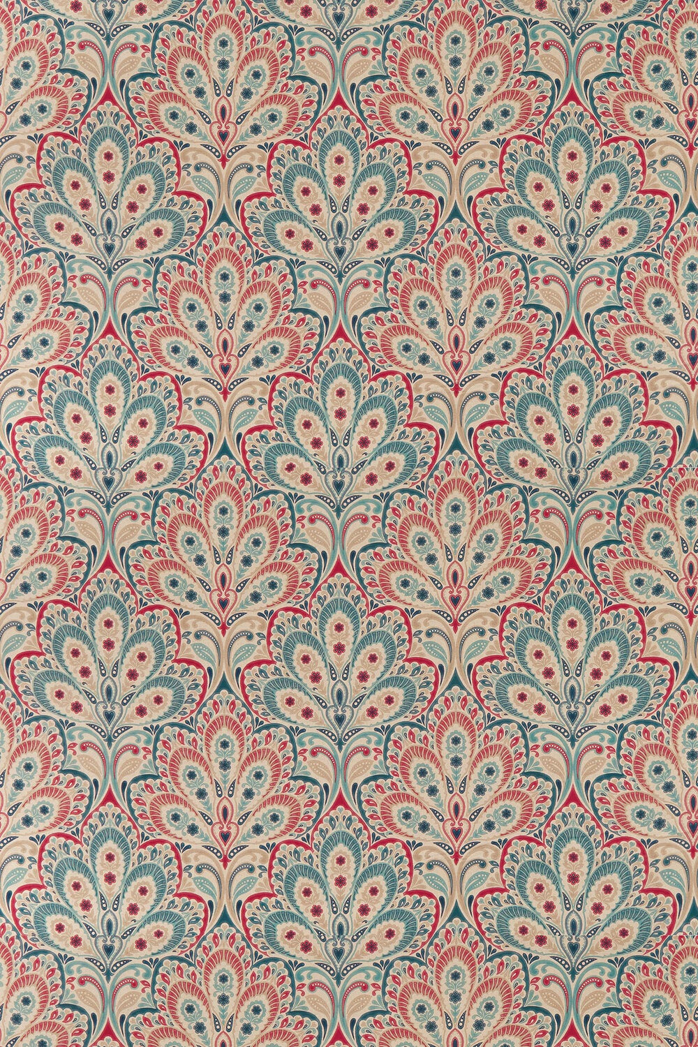Persia By Clarke Clarke Denim Raspberry Fabric F1332 02