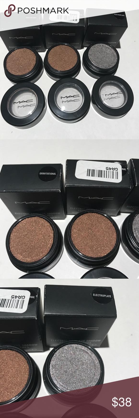 Mac electric cool eyeshadow bundle of 3 Mac electric cool eyeshadow bundle of 3. 2- gravitational and 1- electroplate MAC Cosmetics Makeup Eyeshadow
