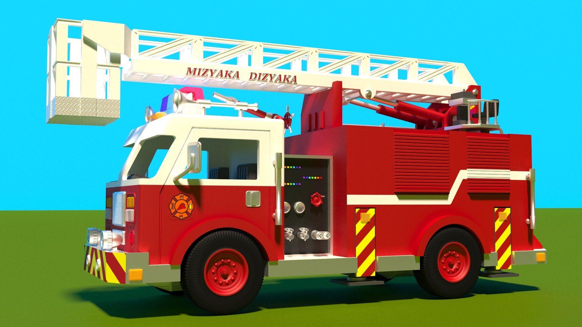 Juego de construcción: camión de bomberos. Dibujos animados de ...