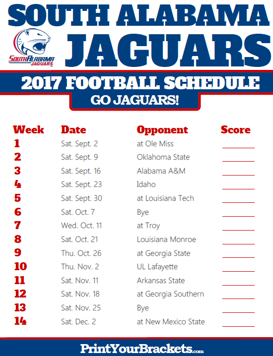 2017 south alabama jaguars football schedule | printable college