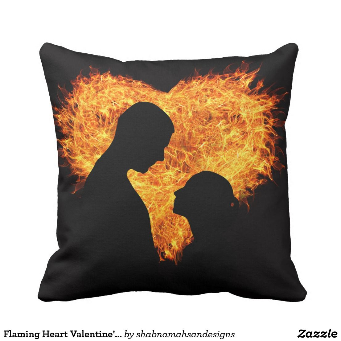 Flaming Heart Valentine's Day Square Throw Pillow
