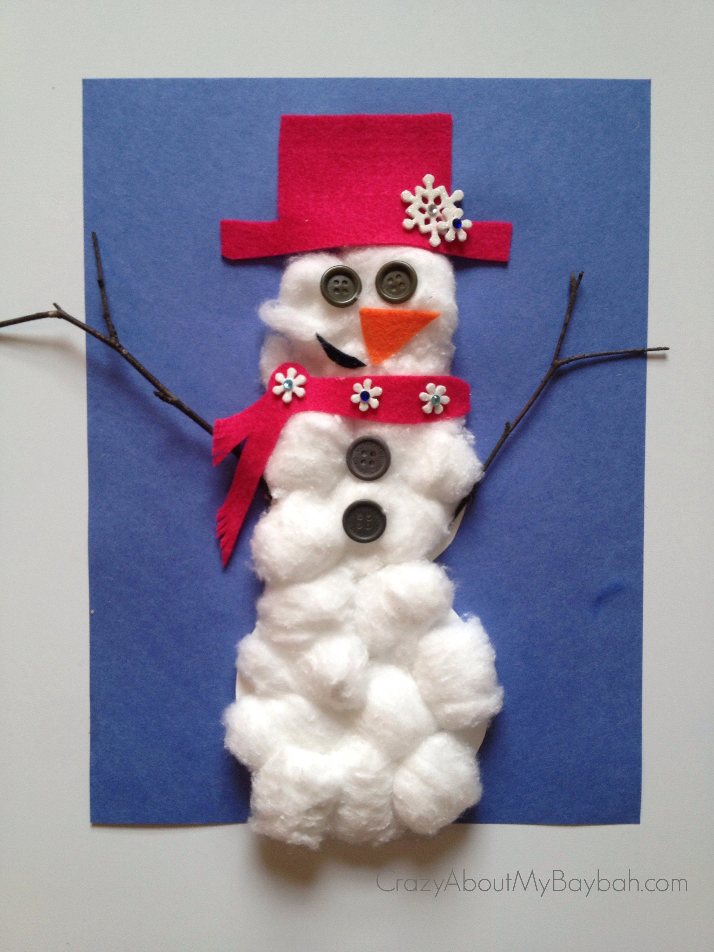 cotton ball snowman 25 winter and crafts for cotton 1362