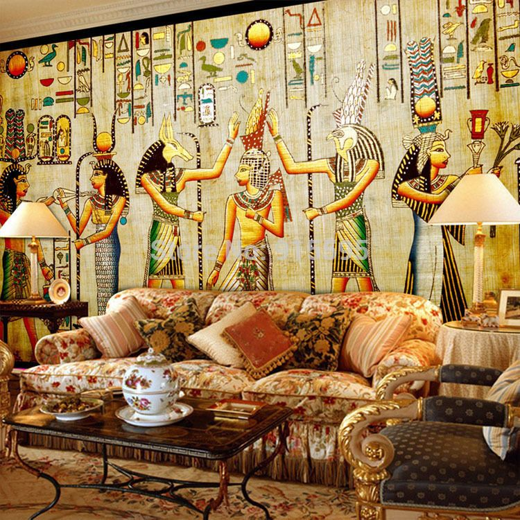3d wallpaper bedroom mural roll luxury egyptian egypt for Egyptian mural wallpaper