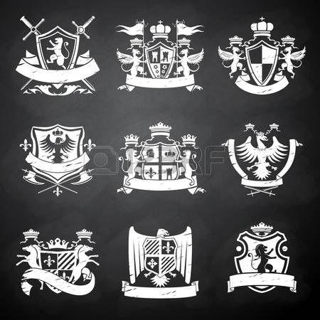 紋章学 紋章のビクトリア朝の騎士装飾的なエンブレム黒板ライオンと馬隔離された図のフラグ設定 Graphic Design Portfolio Inspiration Logotype Design Emblem Logo