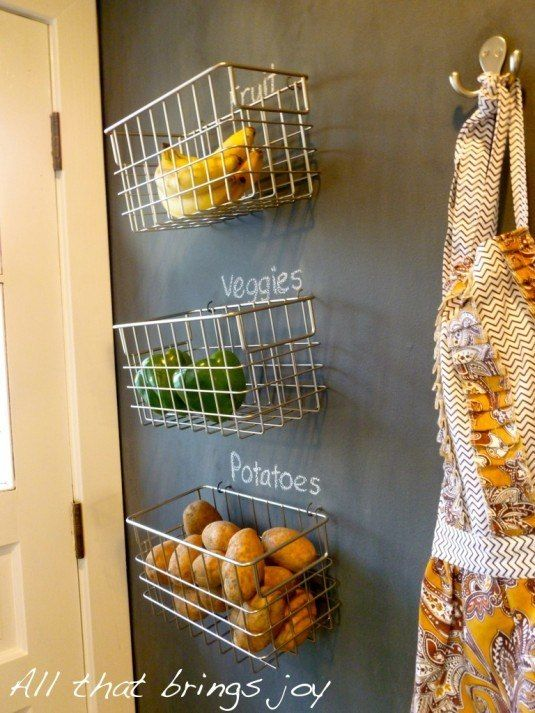 25 Insanely Clever Storage Solutions For Fruits And Vegetables Baskets On Wall Hanging Wall Baskets Hanging Fruit Baskets