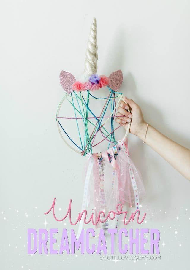 Unicorn Dreamcatcher Unicorn Craft - Girl Loves Glam #unicorncrafts