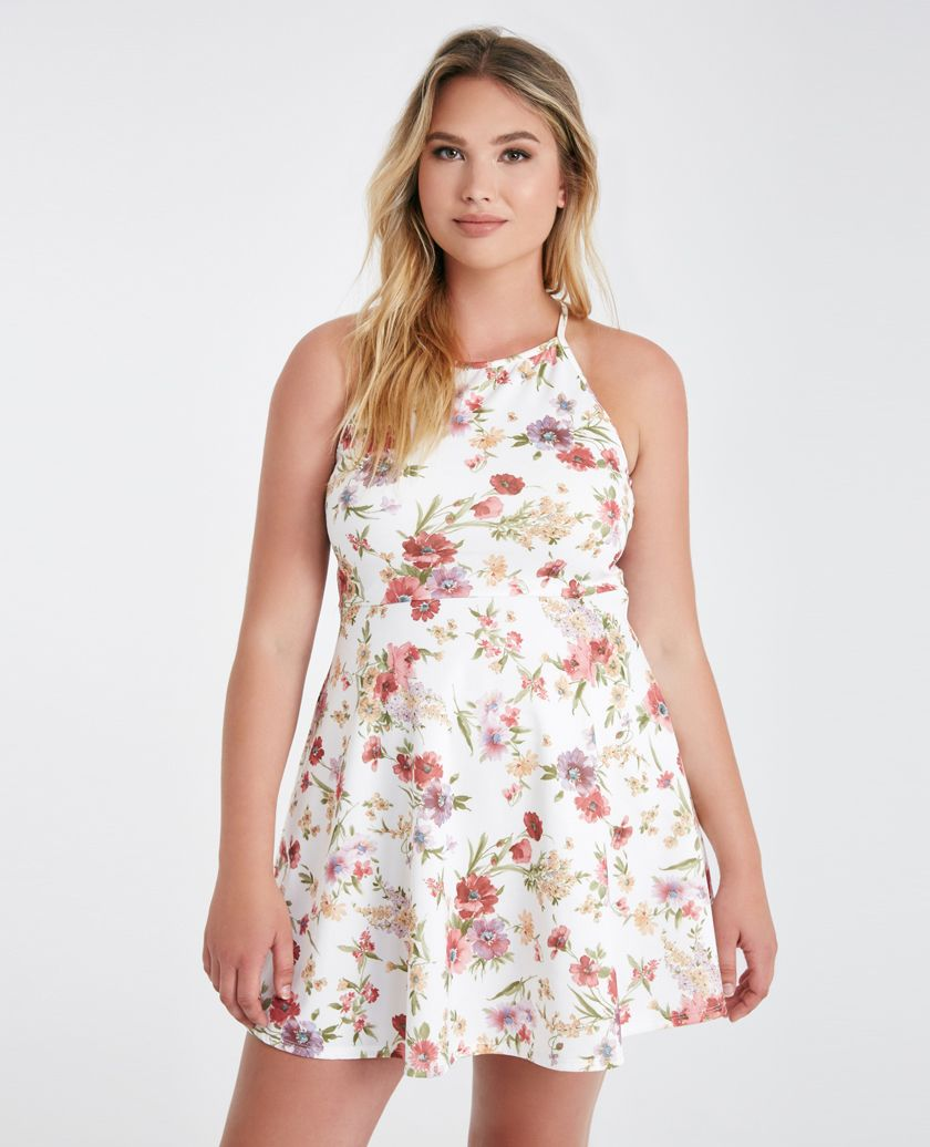 Plus Size Floral High Neck Skater Dress | Wet Seal Plus ...