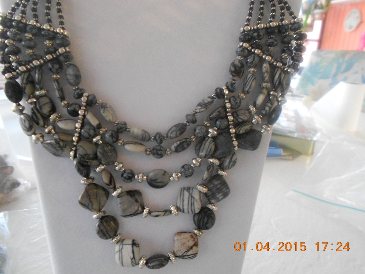 Statement Piece.Black and White Jasper Multiple shaped and Sized  beads mixed with metal components Exquisite Neclace set by Mewpcrafts on Etsy