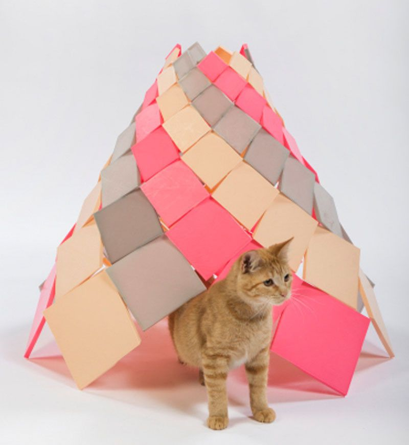 Los Angeles Architecture Firms Have Designed Cat Shelters For Charity   The  Spiral Kitty Shelter By
