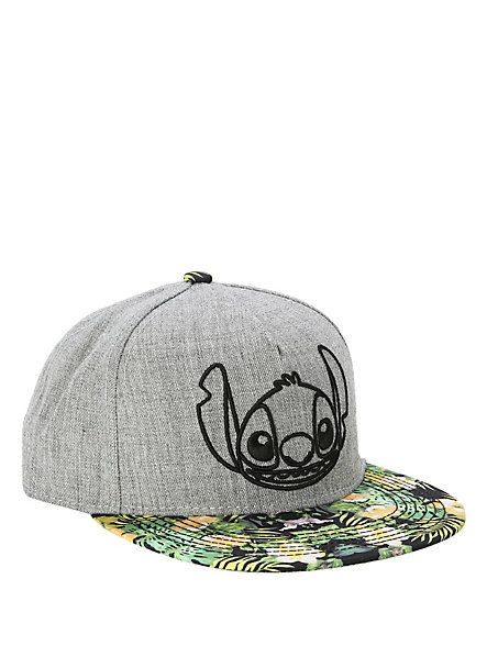 ff1cd14f784 Disney Lilo   Stitch Grey   Floral Snapback Hat