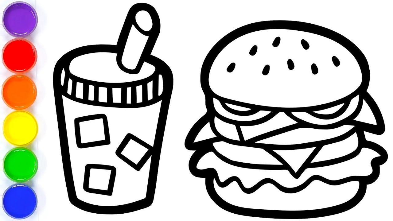 Coloring Colorful Hamburger And Soda Drink For Toddlers How To