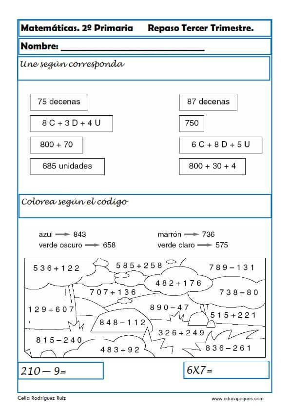 Ejercicios de Matemáticas Segundo Primaria | Pinterest | Ejercicios ...