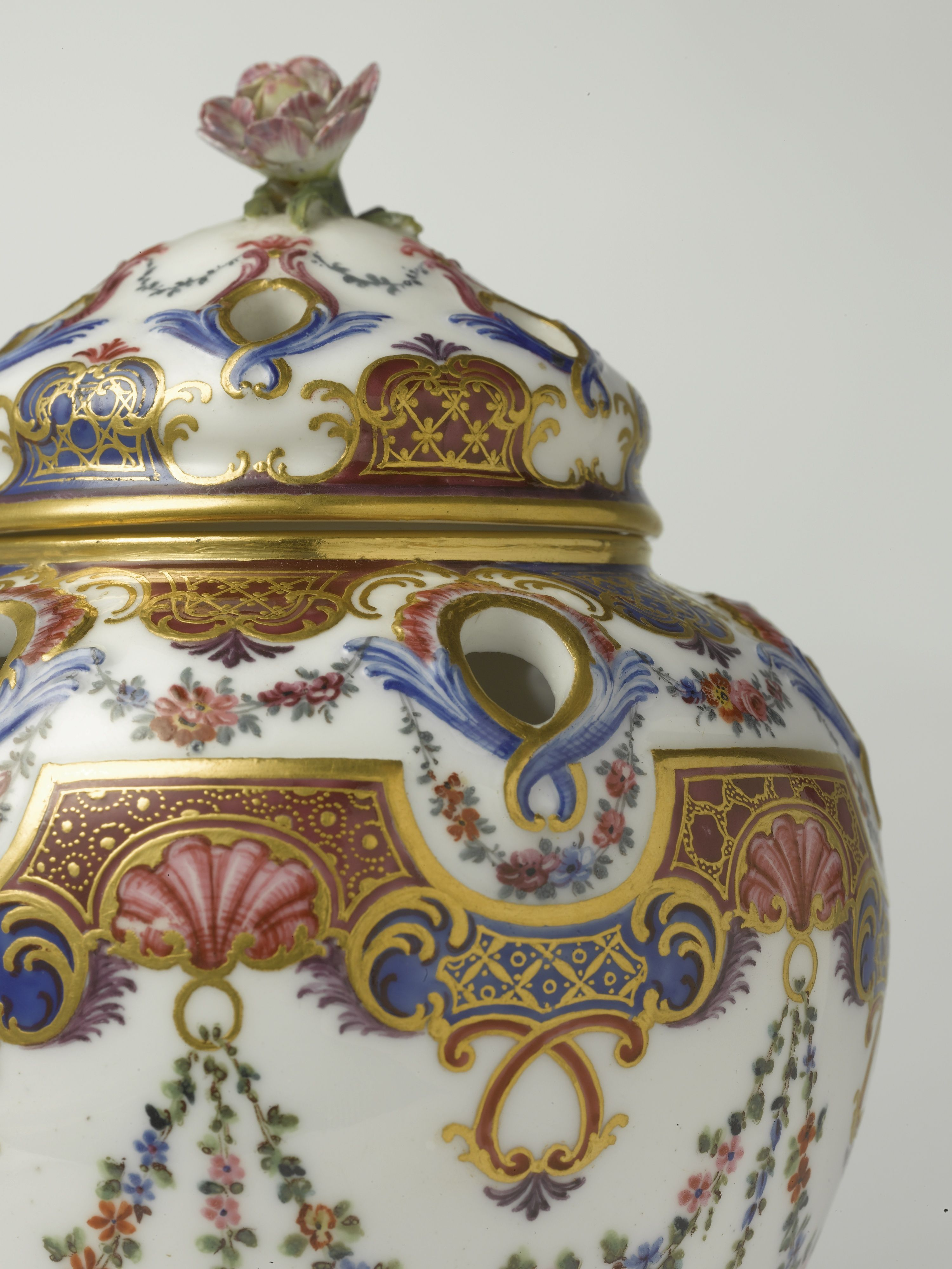 c1762 A PAIR OF SEVRES GILT-METAL MOUNTED POT POURRI VASES AND COVERS THE PORCELAIN CIRCA 1762