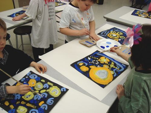 Starry Night Tempera Painting    Warm and Cool Colors    Vincent Van Gogh