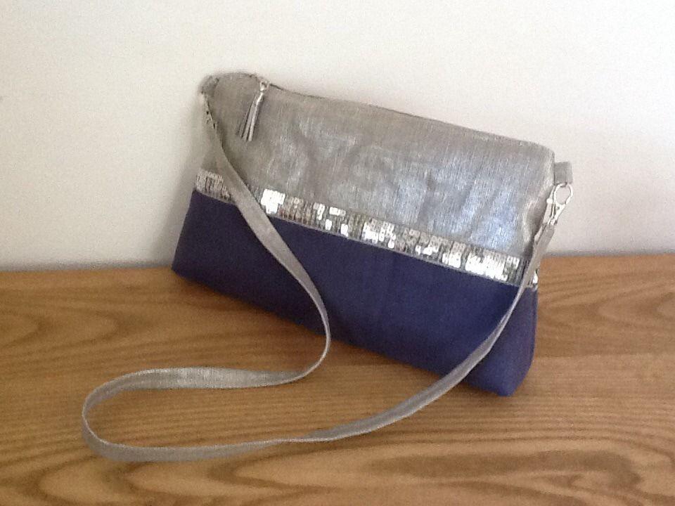 Sac bandouliere en lin enduit sable argent et su dine bleu jean avec paillettes argent sac - Tuto sac besace bandouliere ...
