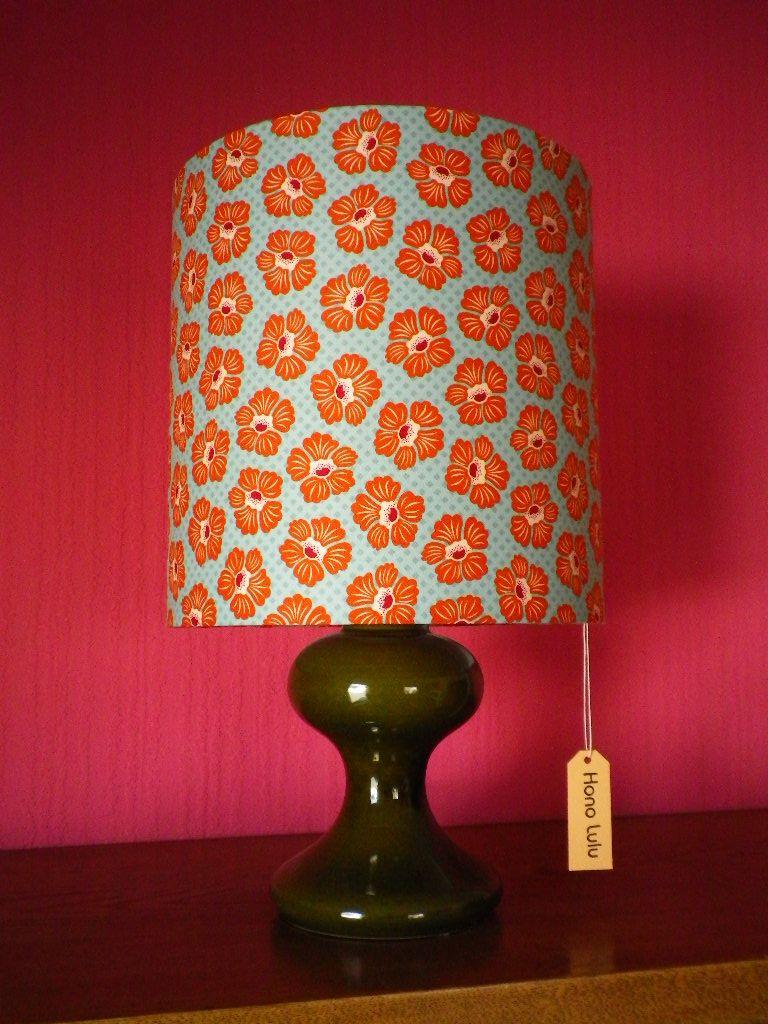 DIY Lampenschirm Von Fummelhummel Bzw. Hono Lulu Mit Retro Stoff Blumen  Blau Türkis Orange Weiß Muster Lampe Sandra Thissen