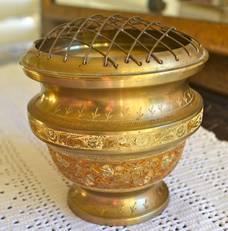 Vintage brass vase with floral frog brass vase bowl engraved vintage brass vase with floral frog brass vase bowl engraved indian design made in india reviewsmspy