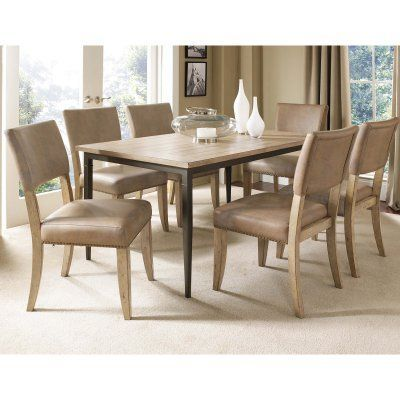 Hillsdale Charleston 7 Piece Rectangle Desert Tan Wood Dining Set with  Parson Chairs - HL3246 3163a458c0c0