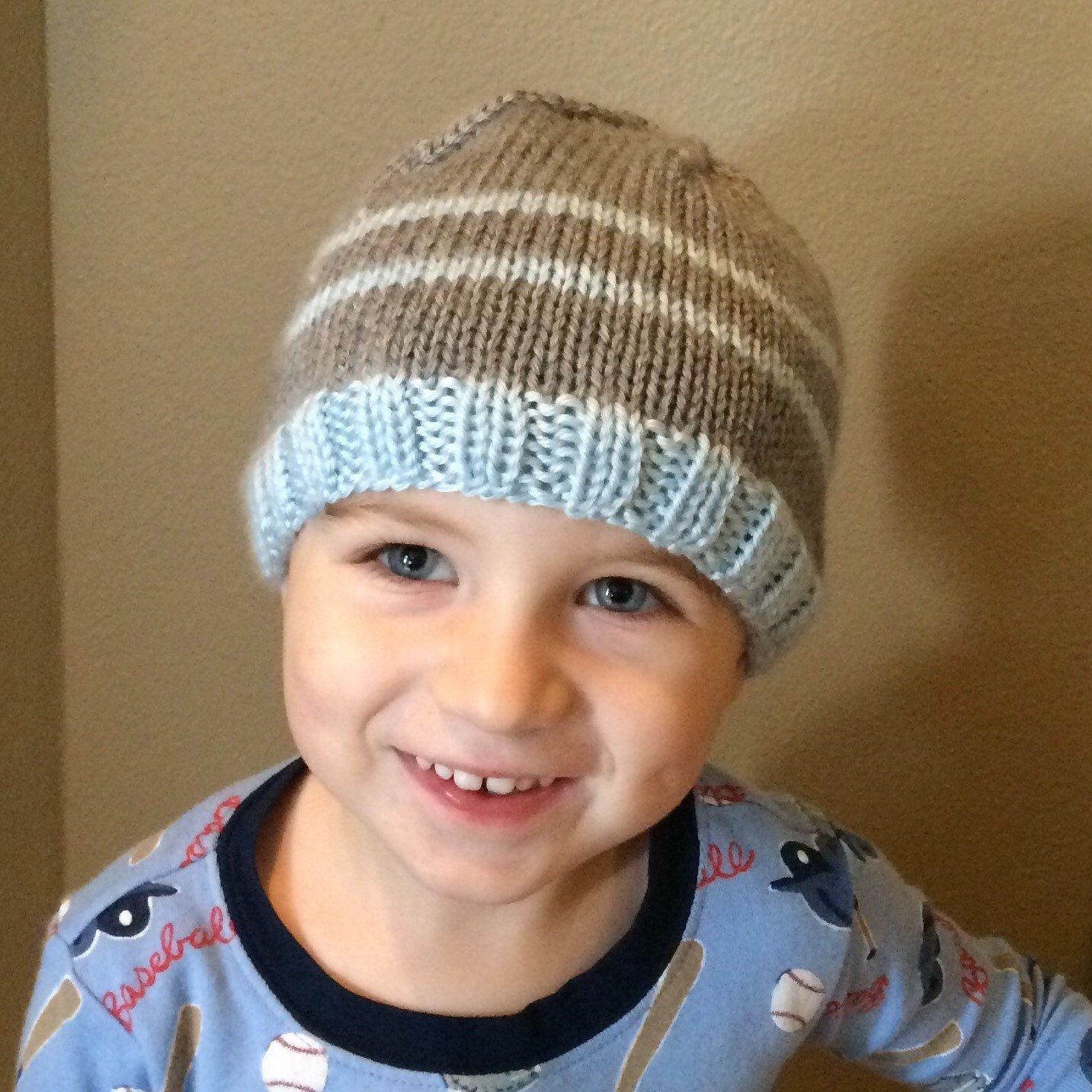 A personal favorite from my Etsy shop https://www.etsy.com/listing/483061630/toddler-boys-knit-striped-hat-beanie
