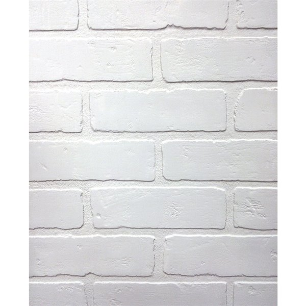 48 In X 8 Ft Embossed Paintable Brick White Wall Panel Lowe S Canada Brick Wall Paneling Faux Brick Panels Brick Paneling