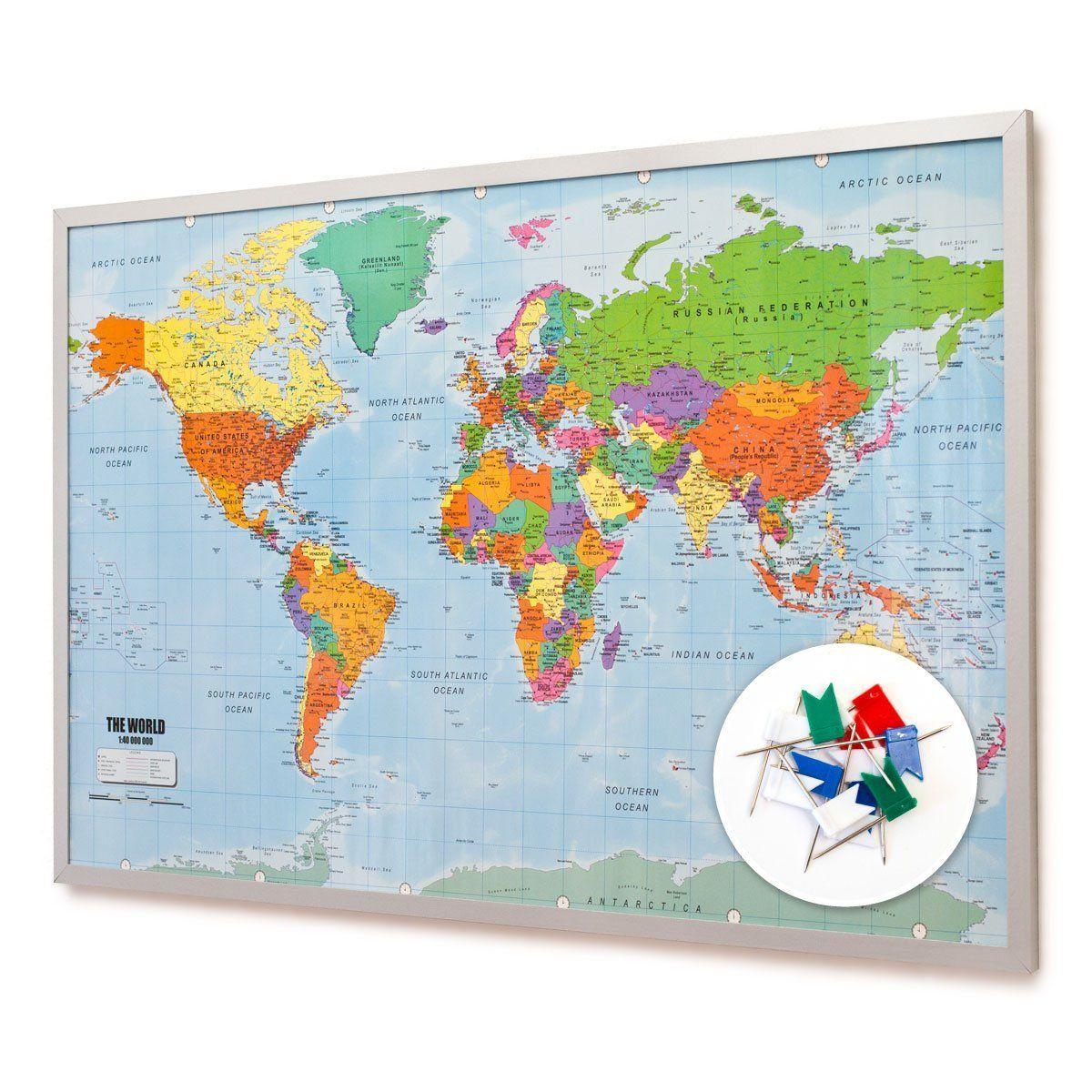 Pin board bulletin board xxl 90x60cm 2 sided world map and cork pin board bulletin board xxl 90x60cm 2 sided world map and cork memo board sciox Gallery