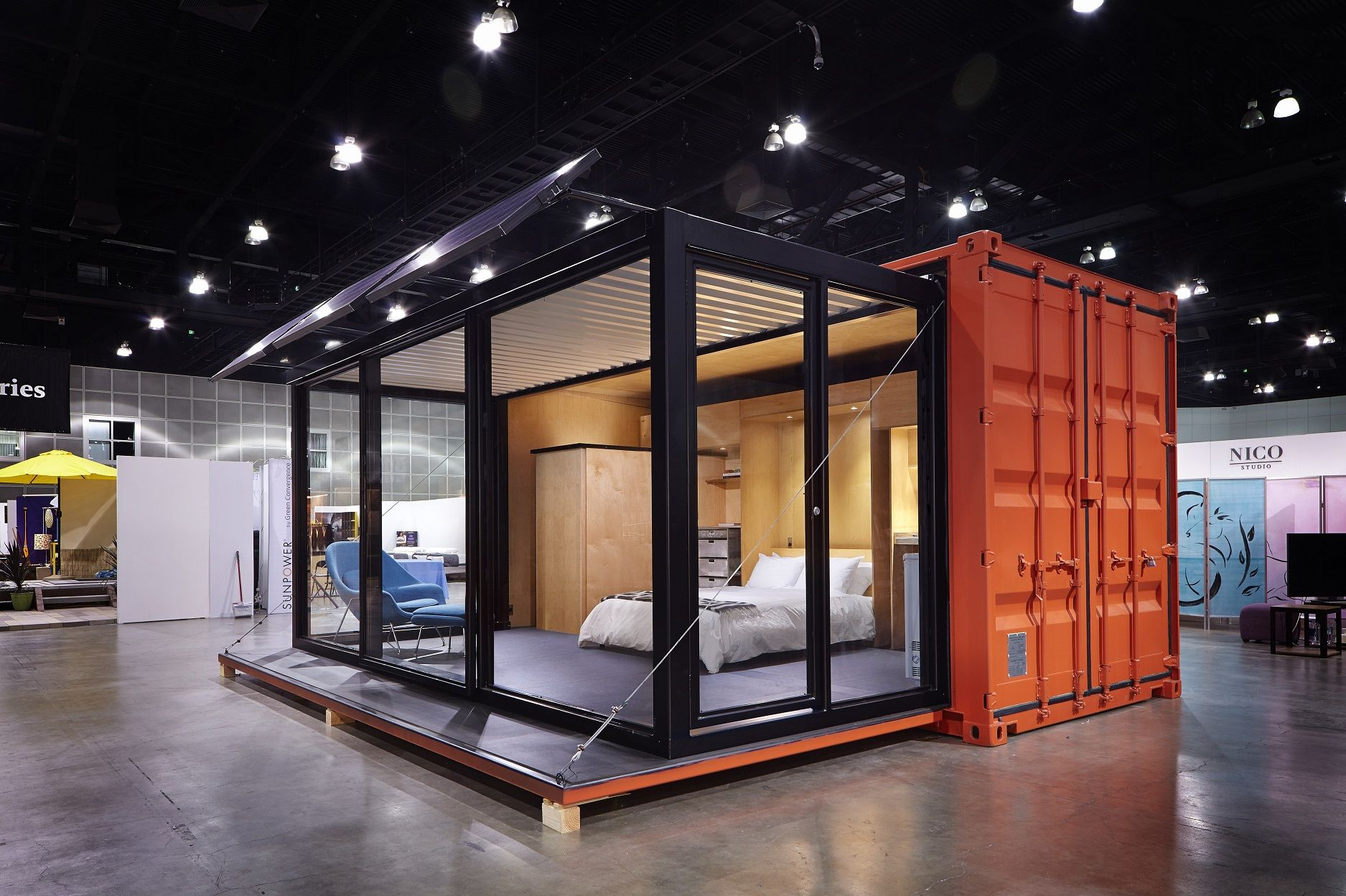 Best Container Homes like this slide-out idea for getting double the usable width out