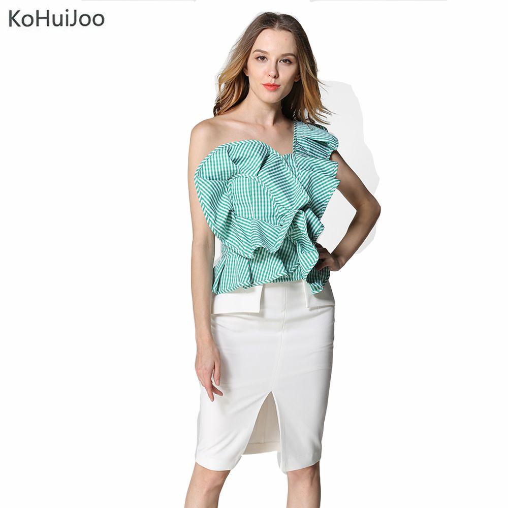 Kohuijoo ruffles blouse shirt women tops one shoulder summer fashion
