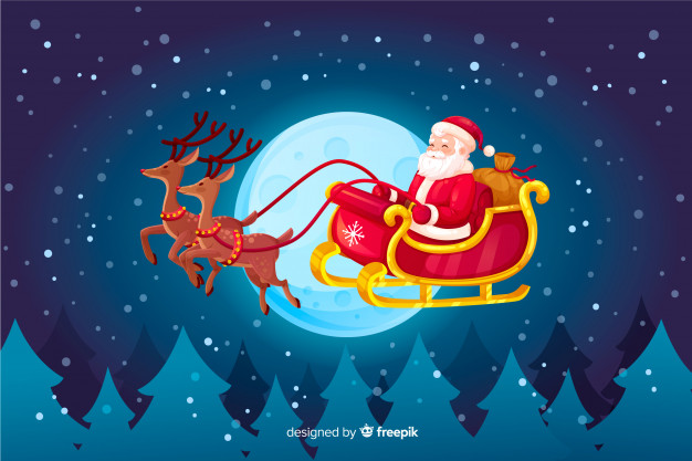 Seamless cute Santa Claus and Santa sleigh, vector