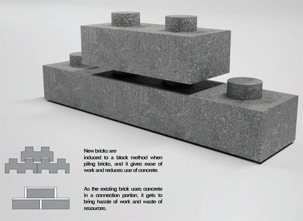 Broken Bricks Makes Lego Dreams Yanko Design Interlocking Concrete Blocks Concrete Blocks Concrete Diy