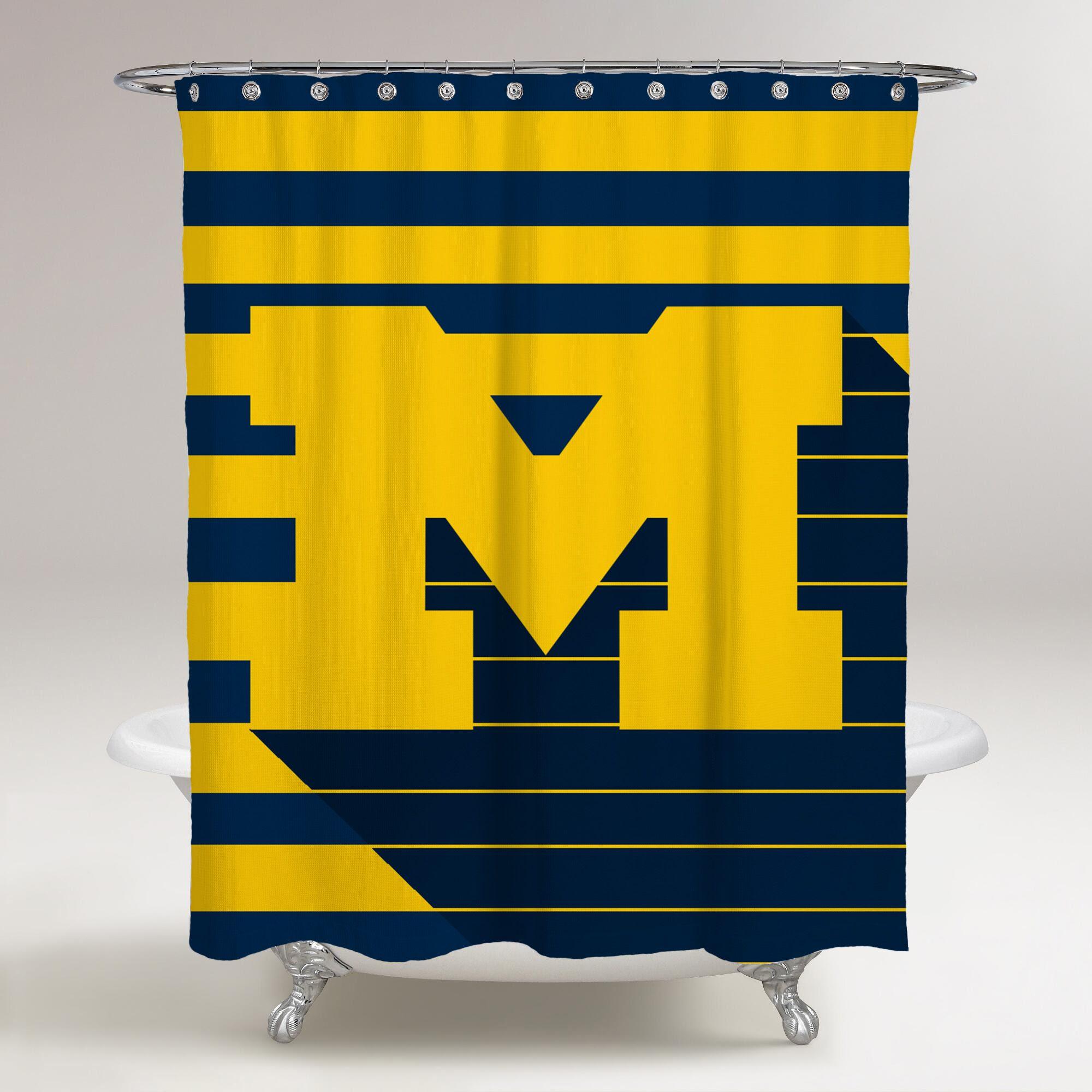 Michigan Wolverines Logo M Printed Shower Curtain Bathroom Decor Price Free Shipping Rareg Bathroom Shower Curtains Shower Curtain Printed Shower Curtain