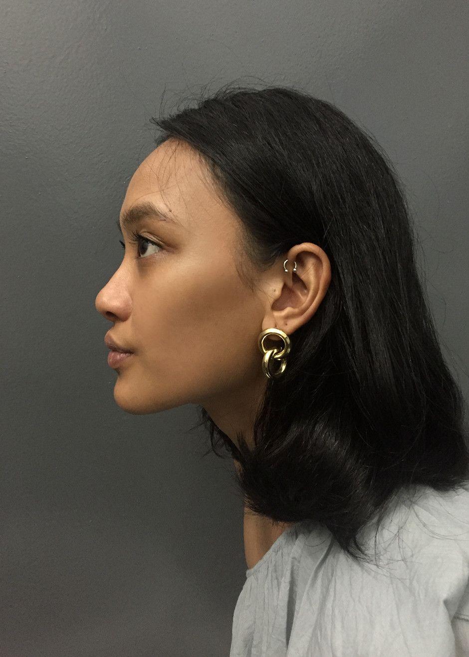c9134b9c3 Interlocking, Hollow Hoop Earrings Vintage/Recycled Brass, 14k Gold Post  for Pierced Ears 1.5