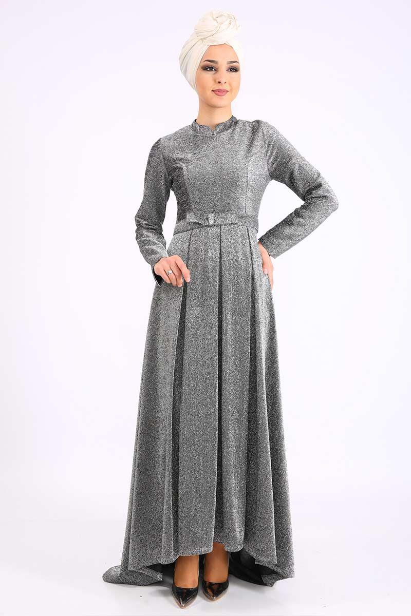 Stilife 4005 Kruvaza Yaka Simli Elbise Siyah Elbise Elbise Modelleri Giyim