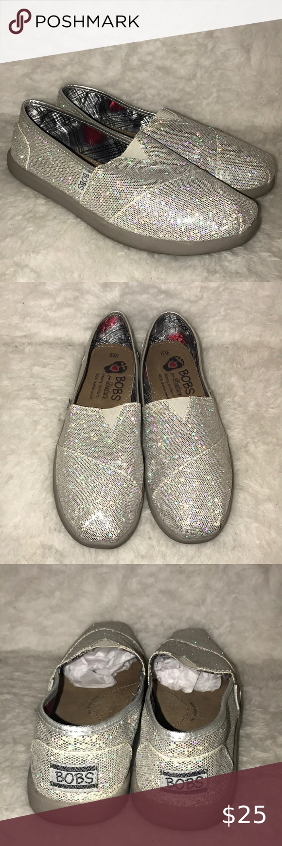 Silver glitter Bobs by Skechers shoes