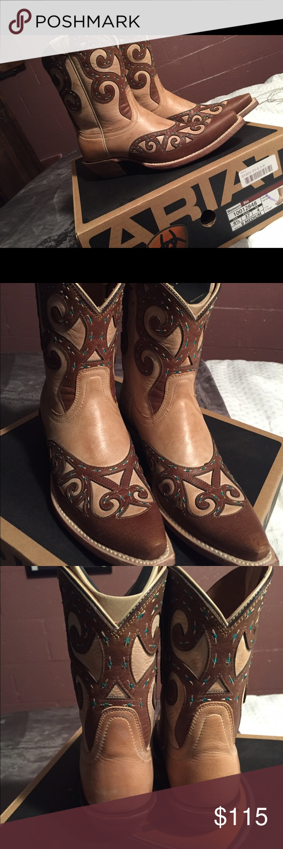 NWB Ariat Rio boots Gorgeous Ariat Rio boots, color oak brown with blue accent stitching throughout the boot. This boot has their ATS stability & cushioning comfort sole system. Brand new, smoke free home! Ariat Shoes Ankle Boots & Booties