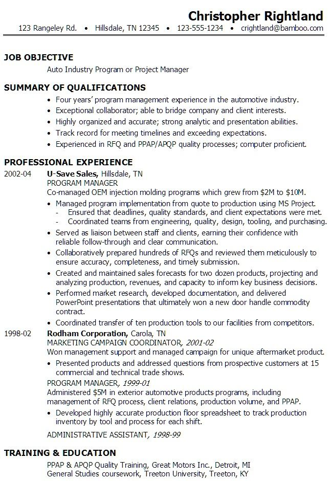 Project Manager Resume Examples 2020
