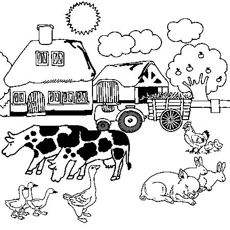 Dessin ferme a colorier autour de la ferme - Coloriage tracteur en ligne ...