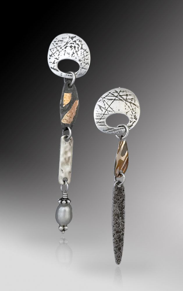 Desert Chimes No10 Earrings in Mixed Metal by Richard Lindsay