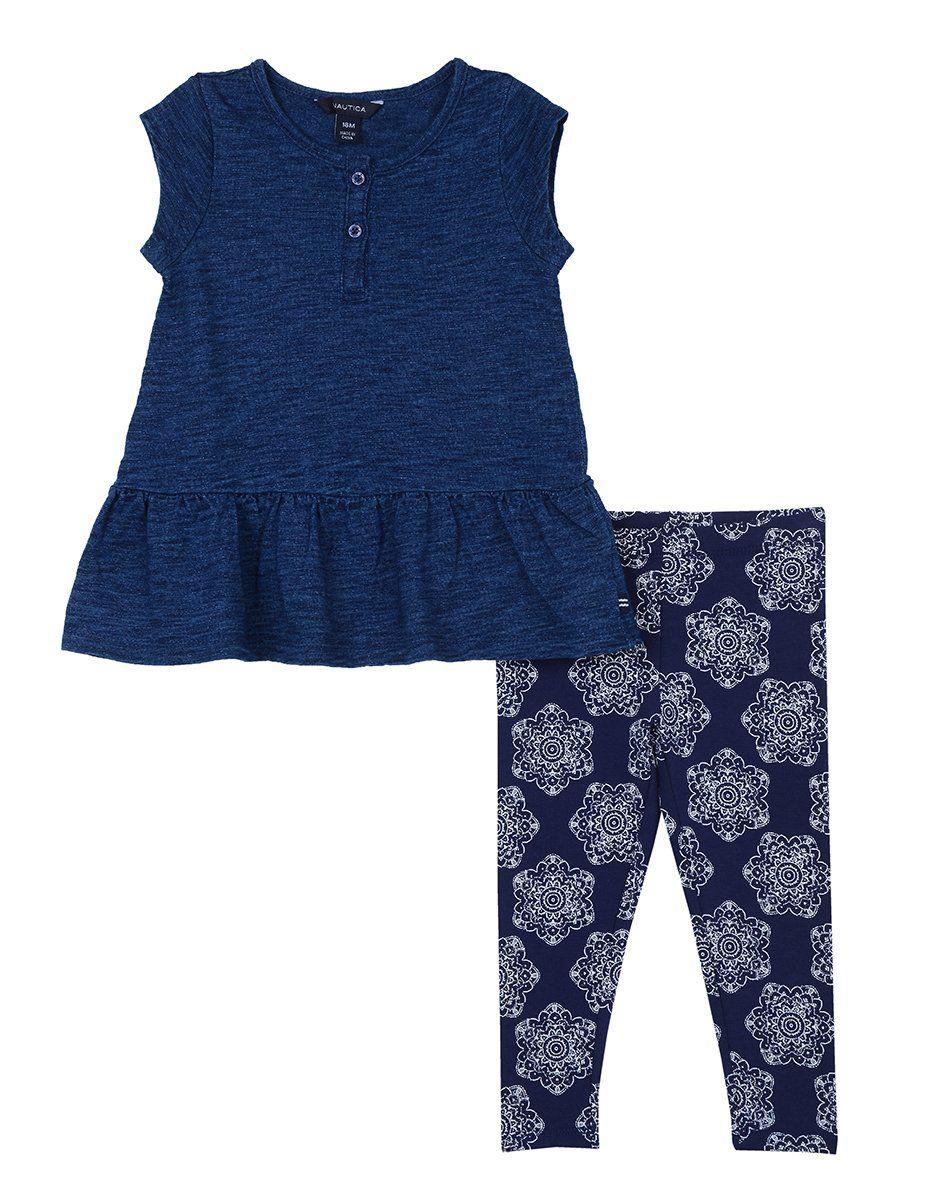 d2d5d48053e63 Nautica Baby Girls Fashion Top with Legging Two Piece Set Dark Indigo  Medallion 24 Months *