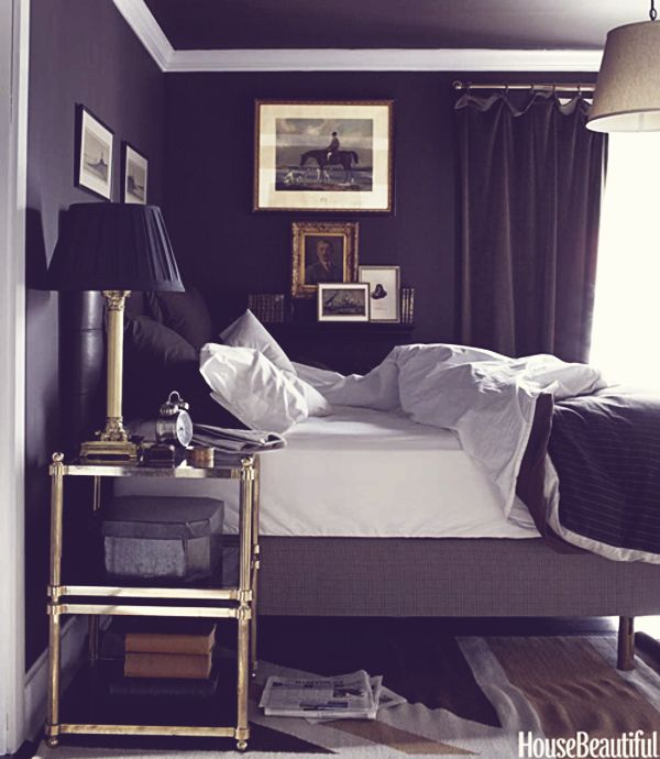 soothing dark colors interrupted by a few contrasting elements....and brass is back