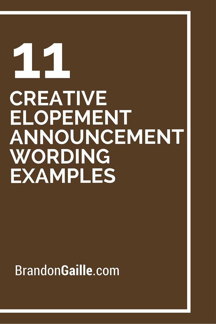 11 Creative Elopement Announcement Wording Examples   Elopement ...