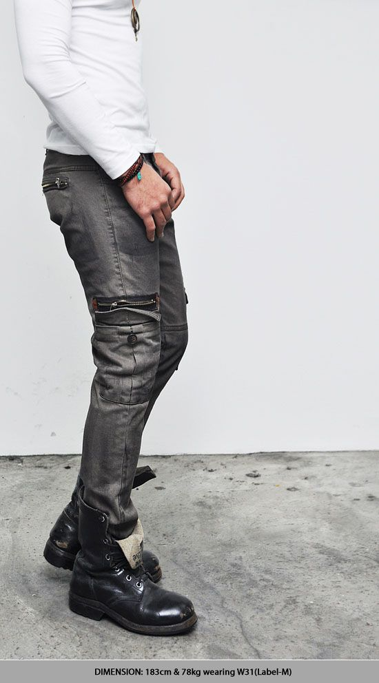 Bottoms :: Pants :: Oil Washed Slim Straight Zipper Cargo-Pants 58 - Mens Fashion Clothing For An Attractive Guy Look
